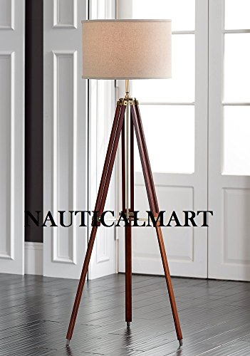 Surveyor Tripod Floor Lamp for Living Room Cherry Finish Wood