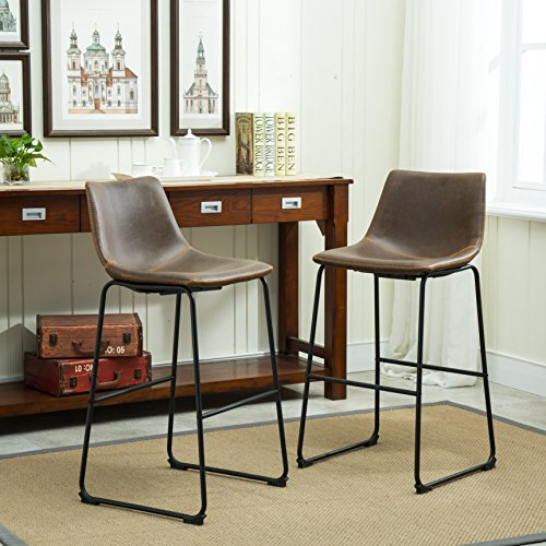 Roundhill Furniture Lotusville Vintage PU Leather Barstools, Antique Brown, Set of 2