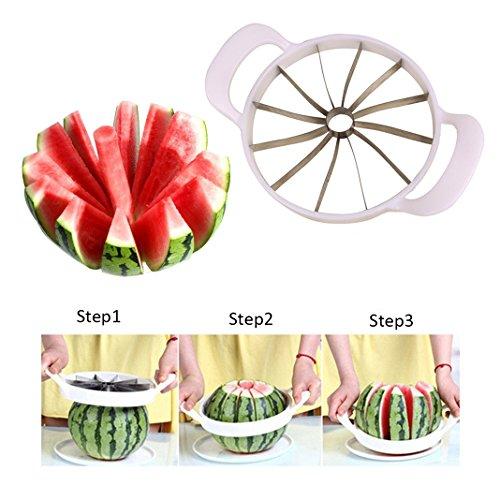 ZXK Melonenteiler Wassermelone Obstschneider Edelstahlklinge(Weiß)