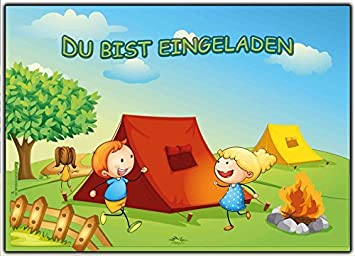 Einladungskarten Kindergeburtstag   Einladung Zum Camping Oder Zelten (10  Stück) Baumhaus Lagefeuer Jungen Mädchen