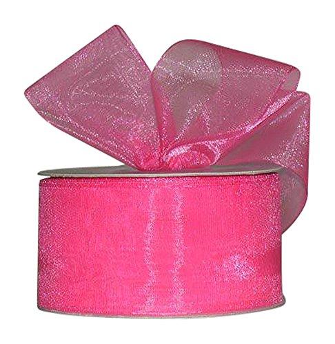 Ribbon Bazaar Sheer Organza 7/8 inch Shocking Pink 25 Yards 100% Nylon Ribbon ()