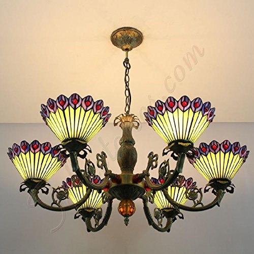 LILAS Yellow And Purple Peacock Feather Glass Tiffany Style Lamps Creative Chandeliers Pendant Light With 6 Lights