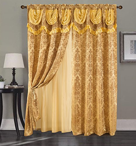 (RT Designers Collection Sparta Jacquard 54 x 84 in. Rod Pocket Curtain Panel w/Attached 18 in. Valance, Taupe, Gold)
