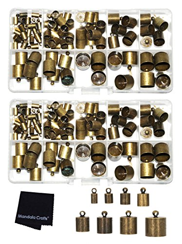 (Mandala Crafts Metal Glue in Barrel End Caps, Leather Cord Finding Kit for Kumihimo Jewelry and Tassel Making (4mm to 12mm Antique Bronze))