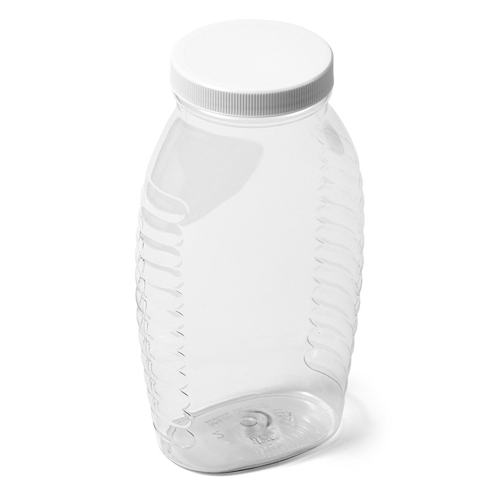 Clear Wide Mouth Oval PET Honey Jar - 2 lb - White Flat Cap - Case of 100