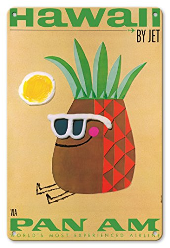 Tin Hawaii (Pacifica Island Art 8in x 12in Vintage Tin Sign - Hawaii by Jet - Mr. Pineapple Head - Pan American World Airways by Phillips)