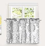DriftAway Samantha Floral/Damask Medallion pattern Kitchen Tier Window Treatment,Set of Two, each 30″x36″+ 1″ header (Gray)