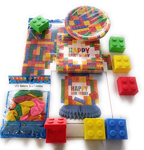 Building Block Birthday Party Table Bundle, includes 16 plates,16 napkins, center piece, table cover, balloons and building block treat -