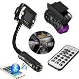 SAGUARO® Wireless Bluetooth In-Car FM Transmitter Modulator MP3 Player Handsfree Car Kit w/ Steering Wheel Remote Control for iPhone 6 6Plus 5 5S 5C 4S 4, Samsung Galaxy S6 S5 S4 Note4 3, LG HTC & More