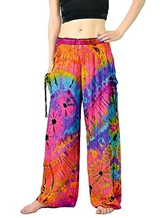 Orient Trail Women's Bohemian Yoga Tie-dye Wide Leg Palazzo Pants XL Nebula Pink