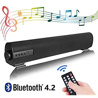 Portable Soundbar for TV/PC, Soundbar with Built-in Subwoofer Surround Sound 2.0 Channel Portable Bluetooth Computer Speaker Wired & Wireless Audio Stereo Sound Bars for TV PC Tablet Mobiles
