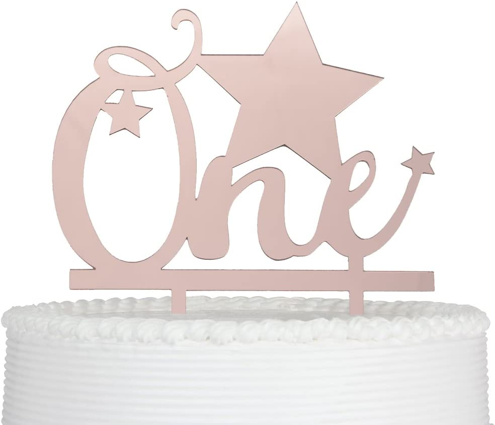 1 pc one star pink gold light blue silver cake topper for first birthday cake smash twinkle twinkle little star