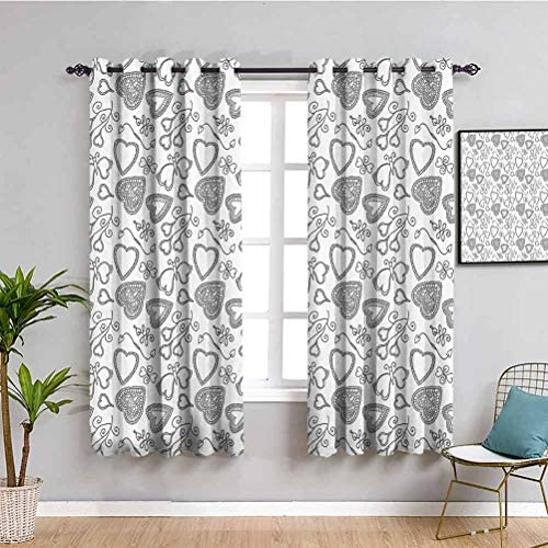 Sketchy Fabric Curtain Hand Drawn Like Hearts Flowers Swirls Leaves Ivy Buds Romantic Image Artwork 2 Panel Sets Black and White W84 x L84 Inch