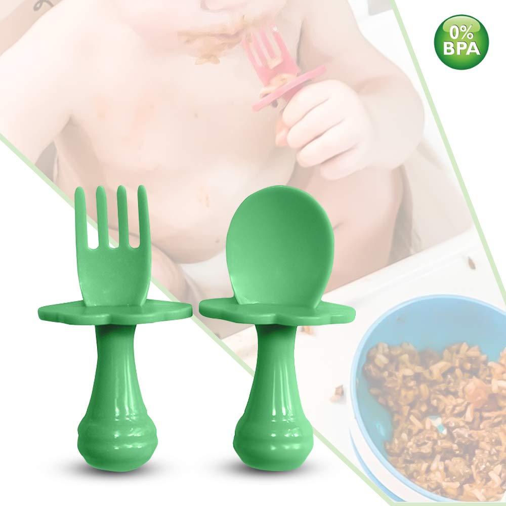 um Ihr Baby zu ermutigen Baby Gabel Babyl/öffel und Gabel selbstst/ändig zu essen. Baby L/öffel Mehrfarbiges Besteckset frei von BPA 1er-Pack, Blau