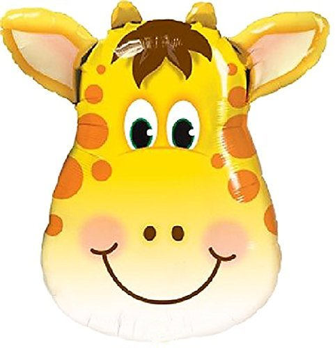 "Safari Wildlife Giraffe (Custom, Fun & Cool {XL Huge Giant Size 32"" Inches - 2.6 Feet} 1 Unit of Helium & Air Inflatable Mylar Aluminum Foil Balloon w/ Zoo Safari Wildlife Giraffe Face Design [in Bright Yellow, Brow, & White])"