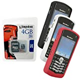 Black, White, Red Skin Cover Case and Kingston 4GB microSDHC Class 4 Memory Card with SD Adapter for Blackberry Pearl 8100 8100c