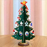 FENZL Christmas Tree Decor, Santa Snowman Wood Tree Toy Doll Gift for Children Kids (L, green)