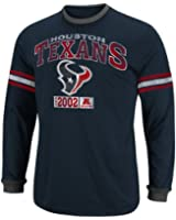 NFL Mens Houston Texans Victory Pride IV Trad Navy/Ath Gray Heather Long Sleeve Crew Neck Colorblked Tee