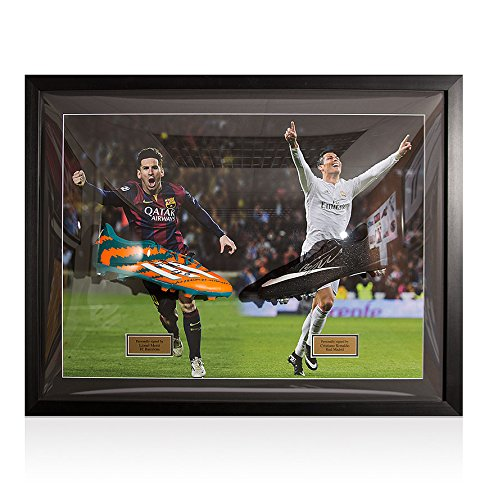 9fe182df89b Dual Framed Lionel Messi   Cristiano Ronaldo Signed Football Boots -  Barcelona Vs Real Madrid  Amazon.co.uk  Kitchen   Home
