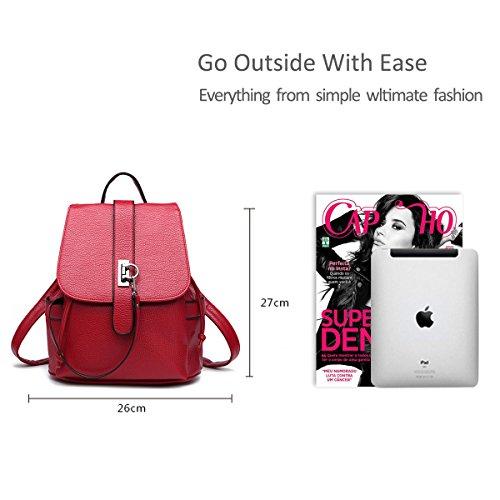 Nicole&Doris Las mochilas de escuela de cuero nuevo de las mujeres del paquete del recorrido del bolso de la PU para las niñas adolescentes Vino rojo