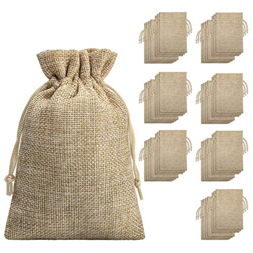 Burlap Bags with Drawstring -(70 Pieces), Burlap Bags with Drawstring-Burlap Gift Bag Jewelry Pouches for Wedding Favors, Party, DIY Craft and Christmas- 5.40x3.74 inch]()