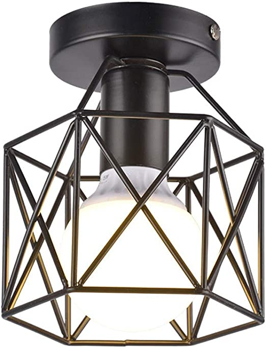 Vintage Industria Lámpara de techo Balcón Corredor E27 Plafones de techo, Club Cafe Bar Retro Cocina Iluminación de techo Creativo Metal Luz de restaurante, Escalera Ático Moda lámpara de pared D15cm: Amazon.es: