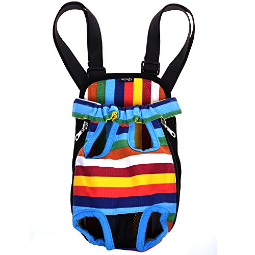Cosmos Small Size Colorful Strip Pattern Pet Dog Legs Out Front Carrier Bag