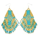 Lux Accessories Goldtone Synthetic Turquoise Tribal Seed Bead Fringe Statement Earrings