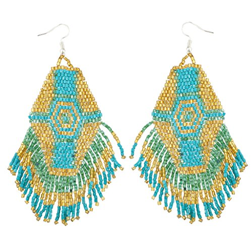 Lux Accessories Goldtone Synthetic Turquoise Tribal Seed Bead Fringe Statement Earrings Diamond Cut Bead Fringe
