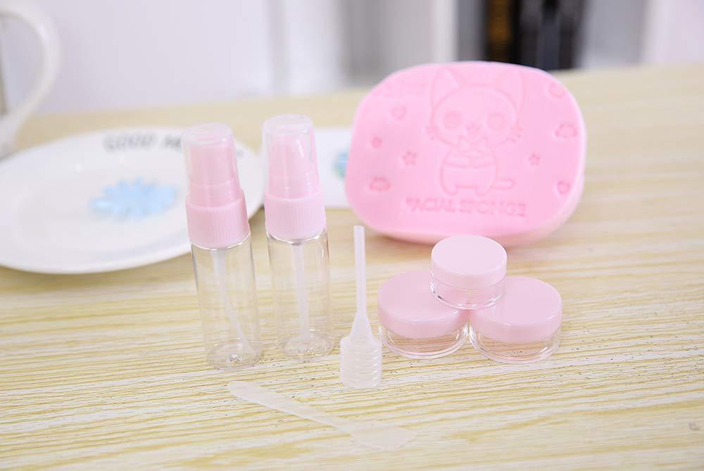 Luxury Exquisito Set de Botellas de Viaje 5 pzs. Contenedor de Viaje Botella con Maquillaje Esponja Puff (Rosa): Amazon.es: Juguetes y juegos