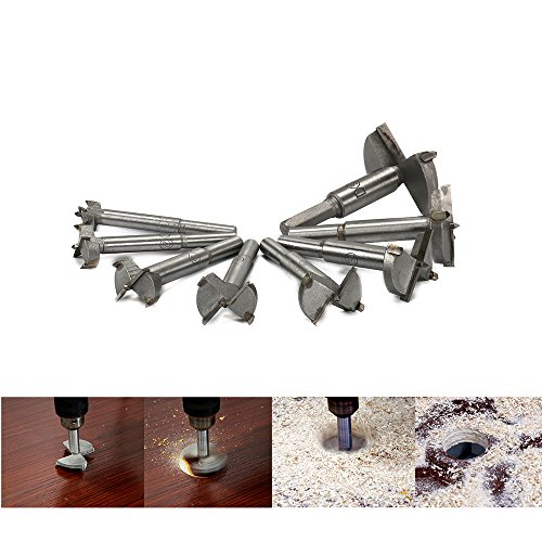 8Pcs Professional Alloy Woodworking Drill Bit Set Hole Saw Wood Cutter Rotary Tool for Wooden Perforation, Installation of Spherical Door Tips, Drawer Tips, Plastic Products, Wood, Plywood 16MM~53MM