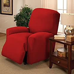 RED Jersey Stretch Slipcover, Couch Cover, Sofa Love Seat Chair and Recliner, Furniture Chair, Kashi Home (Recliner)