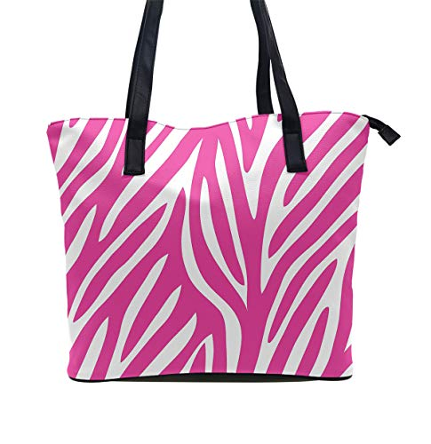Tote-Handbag Gift for Women, Hobo Shoulder Tote Bags Travel Weekender Bag Shopper Handbag Leather Large Capacity Top Handle Satchel Daily Purse (Pink Zebra Print) ()