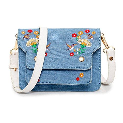 Denim Leather Satchel (Mini Crossbody Bags for Women Small Satchel Bag Denim Leather Embroidery Style Shoulder Bag Leather Vintage Messenger Bag)