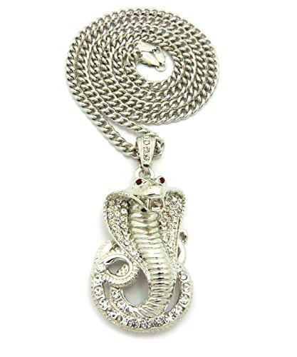 Cobra Snake Pendant (NEW ICED OUT COBRA SNAKE PENDANT & 36