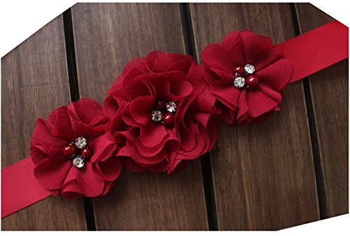 - Bridesmaid and Flowergirls sashes wedding sash pearls flowers belts (Burgundy)