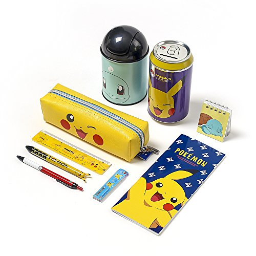 Pokemon Pocket Box Pikachu Stationery School Supplies Box Set : Note, Pencil Sharpene, Ballpoint Pen, Pencil Case, Piggy Bank, Mini Recycle Bin Point Pencil Case