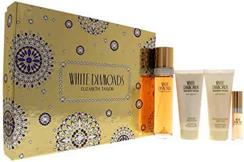 White Diamonds by Elizabeth Taylor for Women - 4 Pc Gift Set 3.3oz EDT Spray, 3.3oz Gentle Moisturizing Body Wash, 3.3oz Perfumed Body Lotion, 10ml EDT Spray