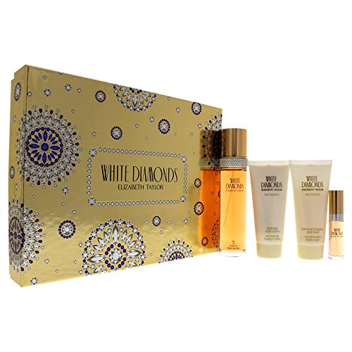 White Diamonds by Elizabeth Taylor for Women - 4 Pc Gift Set 3.3oz EDT Spray, 3.3oz Gentle Moisturizing Body Wash, 3.3oz Perfumed Body Lotion, 10ml EDT ()