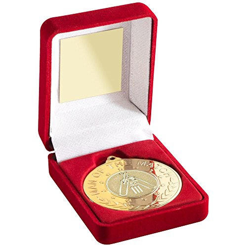 Lapal Dimension RED VELVET BOX AND 50mm MEDAL WITH CRICKET INSERT 'M.O.T.M' TROPHY - GOLD - 3.5i by Lapal Dimension