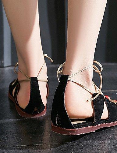 LFNLYX Zapatos de mujer-Tacón Plano-Talón Descubierto / Mary Jane / Punta Abierta / Tira en el Tobillo-Sandalias-Exterior / Vestido / Casual- Black