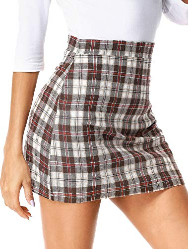 Zip Back A-line Skirt (UUANG Elegant Bodycon High Waist Zip Back Plaid A-Line Mini Skirts (Coffee,L))