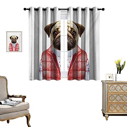 WinfreyDecor Pug Thermal Insulating Blackout Curtain Red Vest and Christmas Sweater on a Adorable Dog Hand Drawn Animal Fun Image Patterned Drape for Glass Door W55 x L72 Pale Brown ()