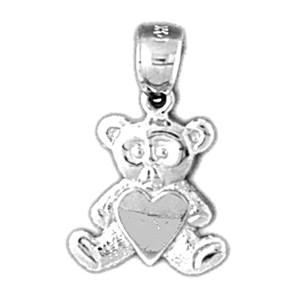 Rhodium-plated 925 Silver Teddy Bear With Heart Pendant with 18 Necklace Jewels Obsession Teddy Bear With Heart Necklace