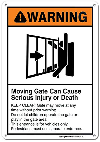 Moving Gate Sign Moving Gate Can Cause Serious Injury or Death, 10x7 Rust Free .040 Aluminum UV Printed, Easy to Mount Weather Resistant Long Lasting Ink Made in USA by SIGO SIGNS
