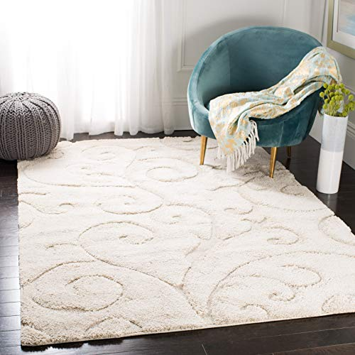 Safavieh Florida Shag Collection SG455-1111 Scrolling Vine Cream Graceful Swirl Area Rug (6' x 9')