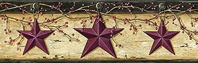 Chesapeake PUR44603B Ennis Wheat Rustic Barn Star Wallpaper Border