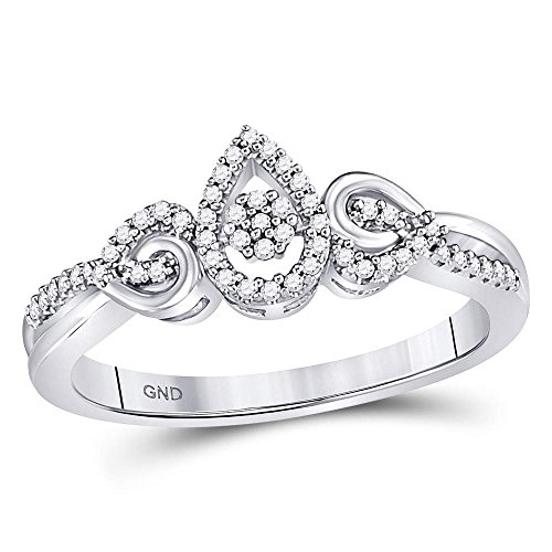 10k White Gold Round Diamond Teardrop Curl Ring 1/8 Ct.
