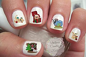 Amazon Holiday Christmas Cat Nail Art Decals Beauty