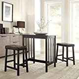Kitchen Island Table with Stools 3 Piece Bistro Kitchen Dining Table and Chairs Set Black Upholstered Fabric Wood Bar Stools Island Breakfast Nook Tall Counter Height Saddle Back Dinner Seating Dishes Area Rug Home Decor Not Included